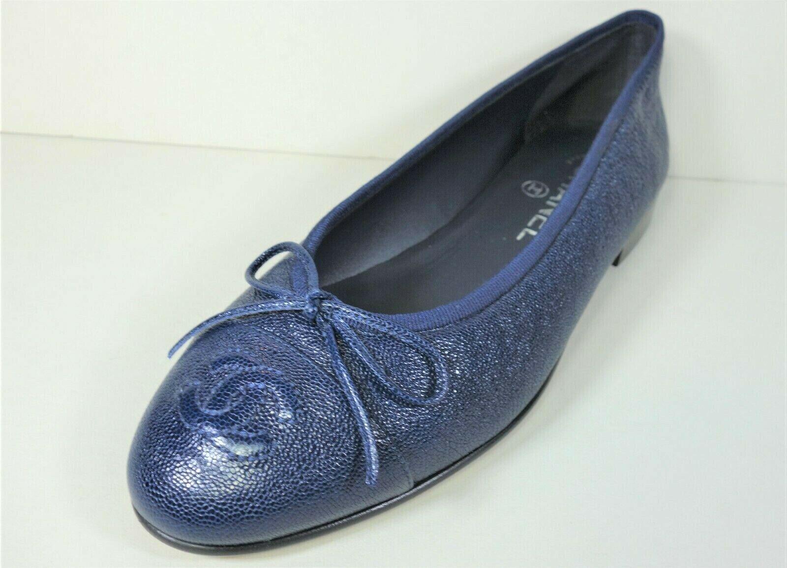 CHANEL 36 navy grained lambskin ballet ballerina flats cap round toe CC NEW