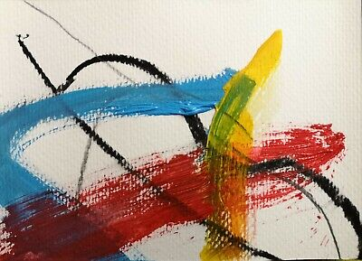 ST IVES ABSTRACT PAINTING 88 BY NIGEL WATERS ORIGINAL PAPER ACRYLIC SIGNED *