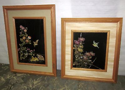 REVERSE GLASS PAINTING WITH MOTHER OF PEARL INLAY FLORAL AND BIRD THEMES TOYO