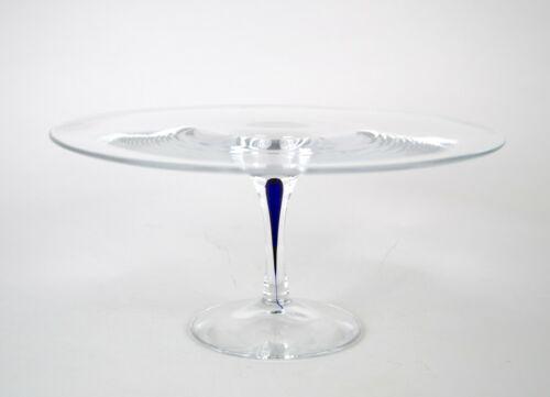 "Orrefors Intermezzo Blue Cake Stand Pedestal 12"" Vintage Teardrop Glass Sweden"