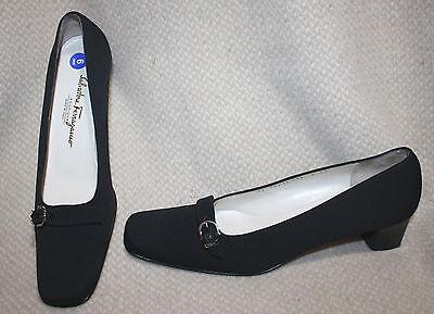 FERRAGAMO Boutique Black Fabric Buckle Shoes Heels Pumps 9 AA PERFECT