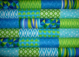 24 Aqua Lime Cotton Fabric Quilting Patchwork 5 inch Charm squares #12f