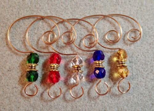 =^..^=   10 Color Glass Bead Ornament Hangers Hooks gold