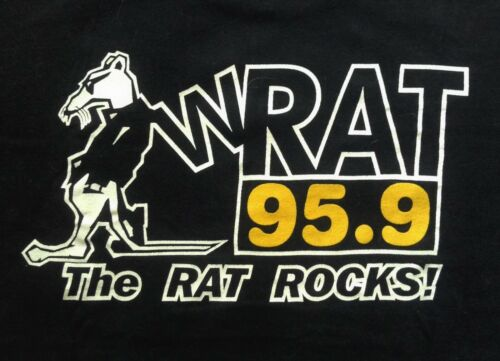 """THE RAT ROCKS!"" Vintage WRAT 95.9 FM Jersey Shore Rock Radio Station T-Shirt XL"