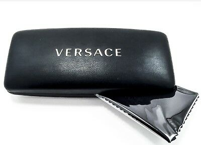 VERSACE Sunglasses / Glasses Case Black Leather Large Hard Shell + Cloth & Card