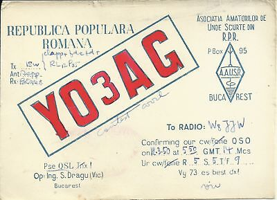 OLD VINTAGE YO3AG BUCHAREST ROMANIA AMATEUR RADIO QSL CARD