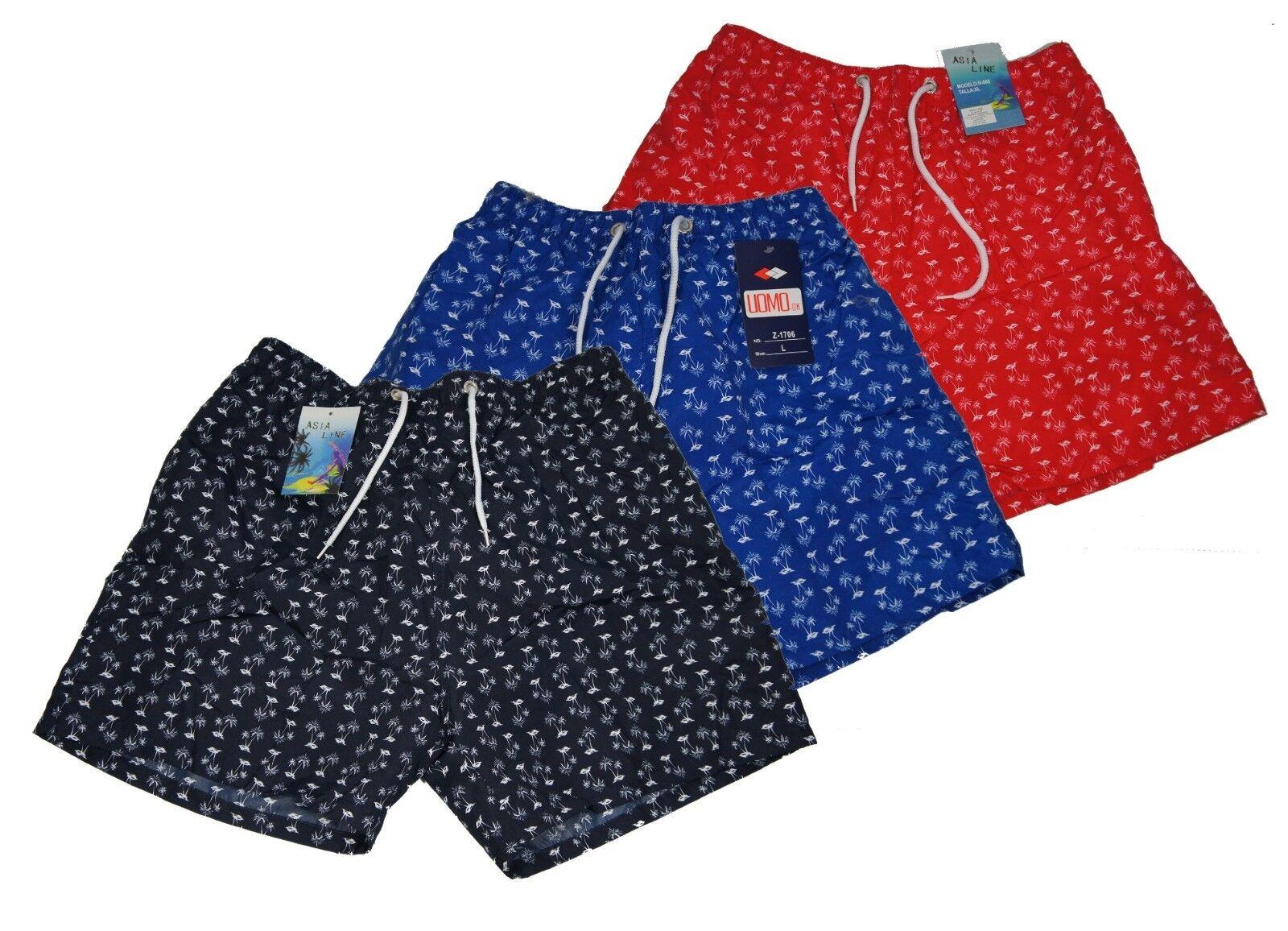 Herren Bermuda Shorts Blau Rot Schwarz Palmen Sport Badehose Hose Neu Kurz 44-56