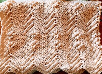 "Beautiful Handmade Crochet Knit Afghan Couch Sofa Blanket 80""x52"" Throw"