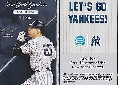 2016 New York Yankees Pocket Schedule - Mark Texeira