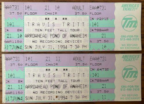 (2) TRAVIS TRITT 1994 Ten Feet Tall and Bulletproof Tour Concert TICKETS Country