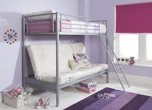 NEW Mika Single High Sleeper with Small Double Futon Bunk Bed Frame (Metal)