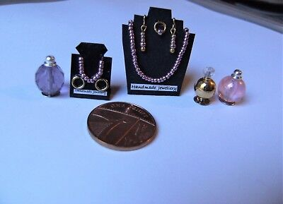 ROSE PEARL RANGE~Dollhouse Jewellery Set HANDMADE NECKLACE RING BRACELET EARRING