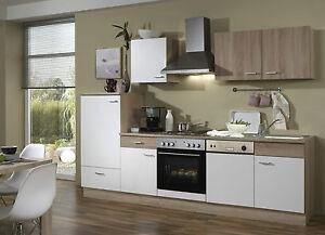 Küchenzeile Svenja GS 270cm Sonoma Eiche Nb./Weiss ohne Geräte