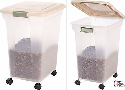 Pet Food Storage Container Lids Airtight 55 Pound 4 Casters Rolling Dog Cat Bird
