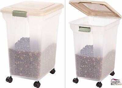 Pet Food Storage Container Lids Airtight 67 Quart 4 Casters Rolling Dog Cat Bird