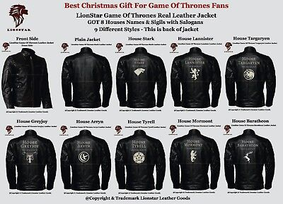 Lionstar Unisex Game Of Thrones House Sigils Real Leather Jacket - Best Fan