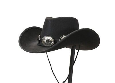 Leather Cowboy Hat Hats - Hat Band for Cowboy Hats, Steampunk Genuine Leather Concho & Buckle USA