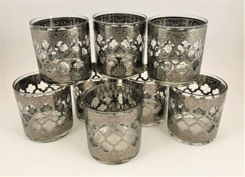 """Set of 8 Very Rare Vintage Culver Silver Valencia Old Fashioned Glasses 3 ½"""""""