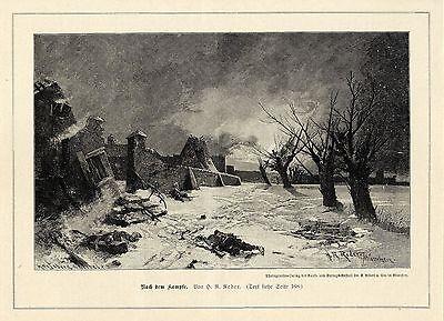 H.R.Reder ( Nach dem Kampfe ) Militärische Graphik von 1899
