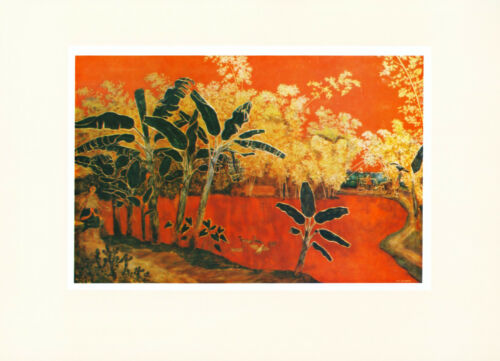 "1958 ""Bamboo and Banana-Tree"" VIETNAM WAR Lacquer Painting Vintage Art Print"