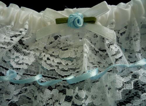 "Wedding Bride Lacy White & Blue Leg Garter New ""Something Blue"""