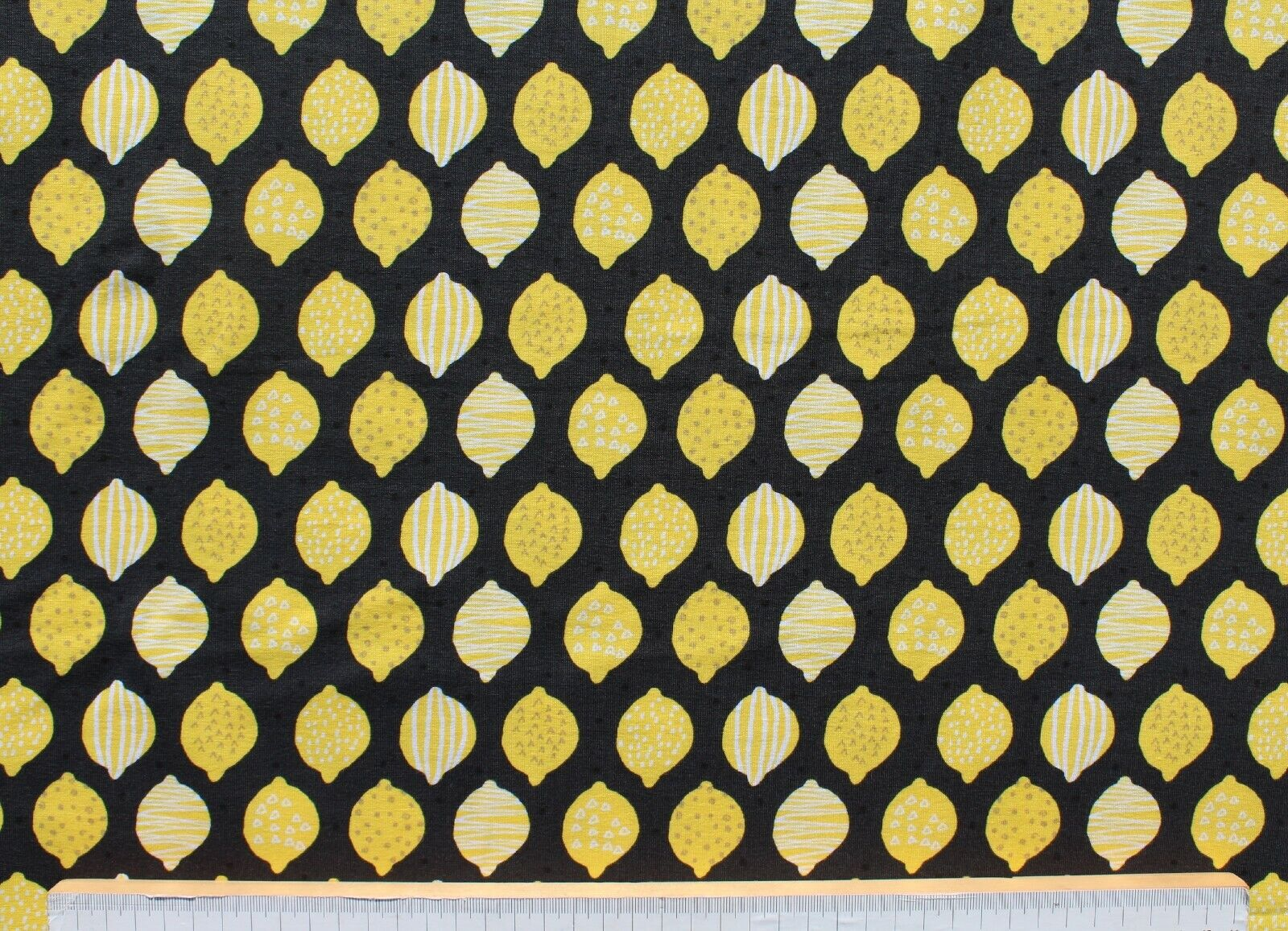 Baumwolle Jersey Stoff, Duftstoff, Hemmers Itex, Zitronen, schwarz / gelb, 145cm