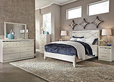 MYRA 5 pieces Modern Champagne White Bedroom Set NEW Furniture - Queen Panel Bed