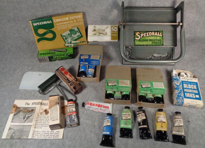Antique SPEEDBALL Linoleum BLOCK PRINTING Press, INK, CUTTERS, ROLLER model B