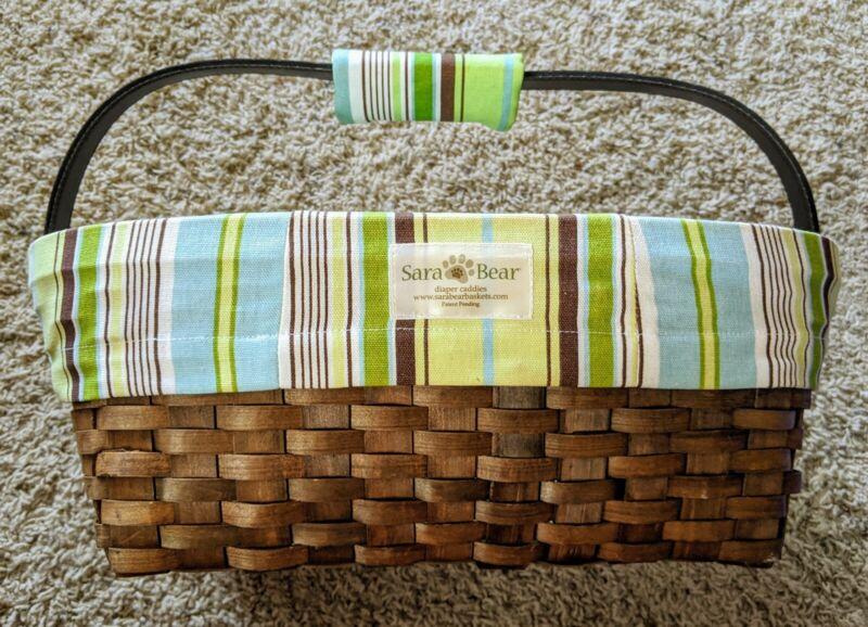 Munchkins Sara Bear Caddy Basket - Green, Blue, Brown Stripes