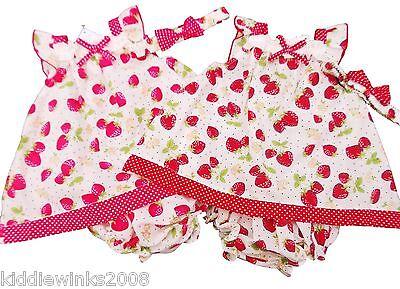 BNWT Baby Mädchen Sommer Erdbeere Kleid Satz Kleidung - Baby Erdbeer Outfit
