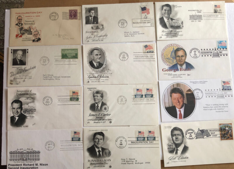 Lot Of 12 Presidential Inauguration Day Cachets