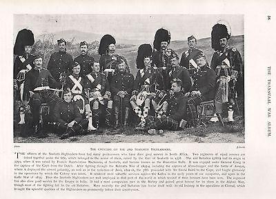 1900 ANTIQUE PRINT-BOER WAR-OFFICERS OF 2nd SEAFORTH  HIGHLANDERS