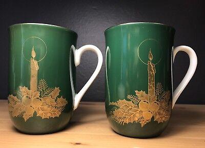 Set Of 2 Otagiri JAPAN Coffee Mug Green And Gold Christmas 8 oz