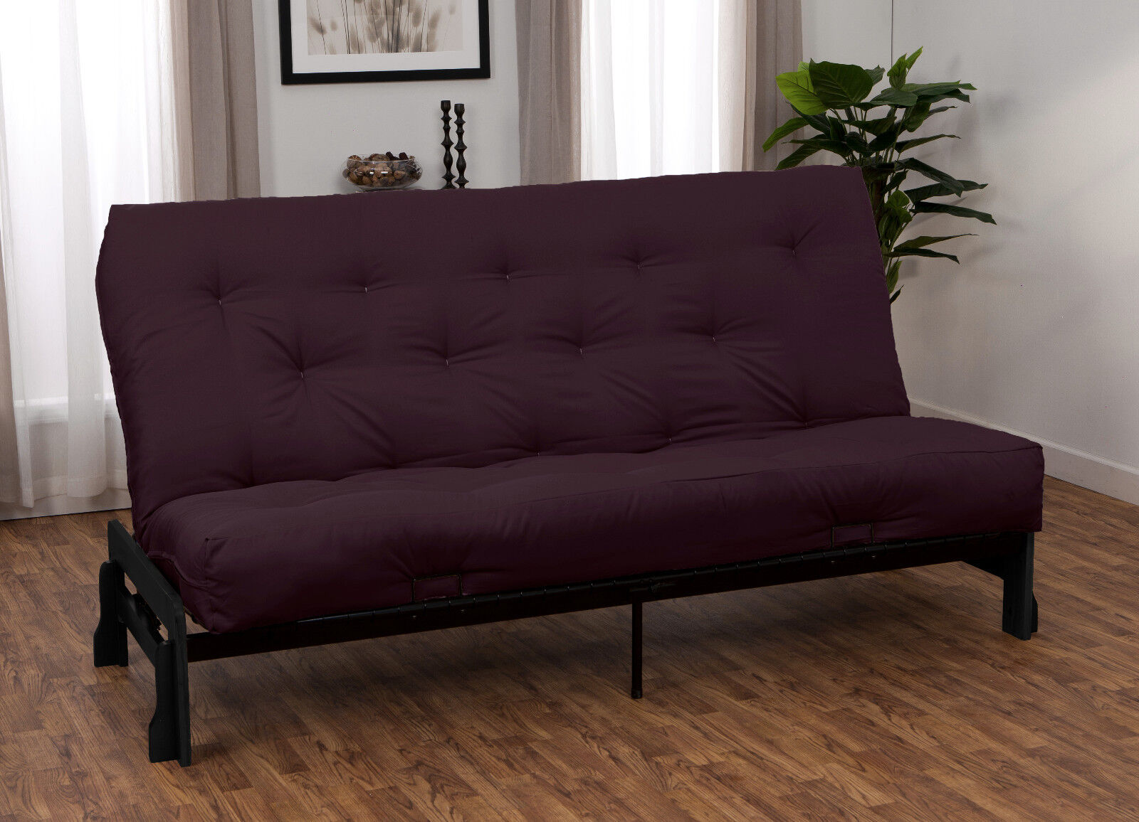 bali wood metal futon frame and futon