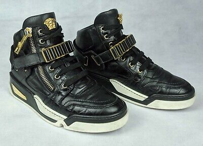 100% Authentic VERSACE Leather Black and Gold High-Top Sneakers Medusa Sz 9-9.5