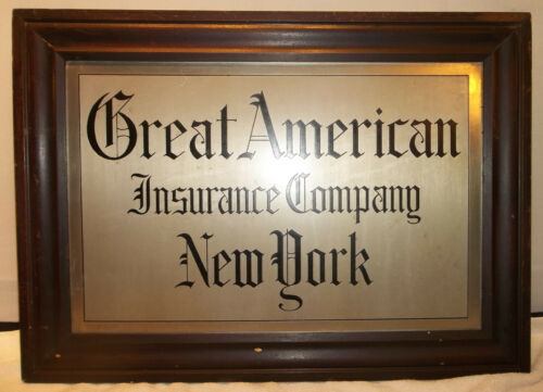 ANTIQUE GREAT AMERICAN INSURANCE Co NEW YORK 1920s FRAMED ADVERTISING SIGN