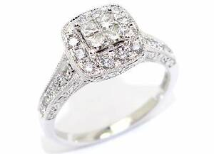 14ct White Gold 0.90ct 26 Diamond Engagement Ring - Size O Perth Perth City Area Preview