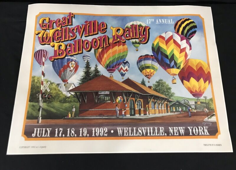 Wellsville NY Balloon Rally 1992 17th Annual  Print Poster  A T O'grady
