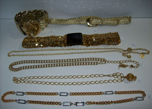lot of vintage GOLD TONE Womens Belts, Chain Stretch Sequin ...
