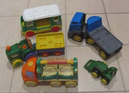 5 Large Plastic Toy Trucks Tractors Campervan Vehicles