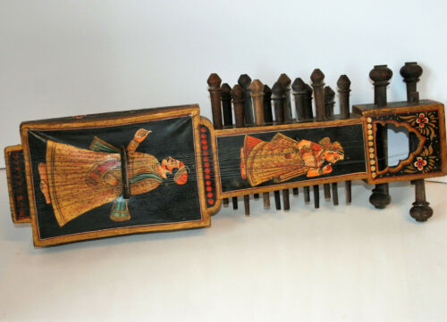 Antique 19th century Indian Sarangi musical instrument hand painted lacquer Ju12