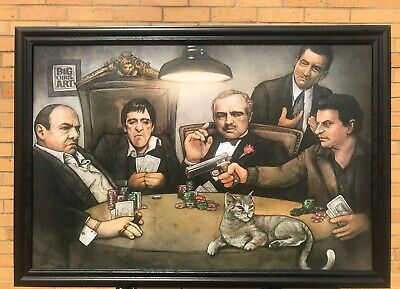 Big Chris Art Gangsters Poker Solid Wood Framed Textured Picture Print