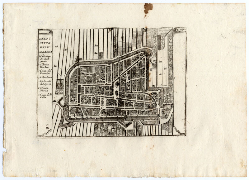 Rare Antique Print-DELFT-CITY PLAN-Coronelli-1706