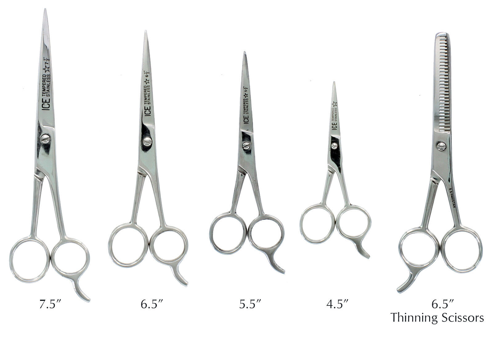 Hair Cutting Scissors Barber Shears - ICE Tempered 4 Sizes t