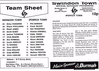SWINDON TOWN V IPSWICH TOWN RESERVES COMBINATION LGE14/3/94