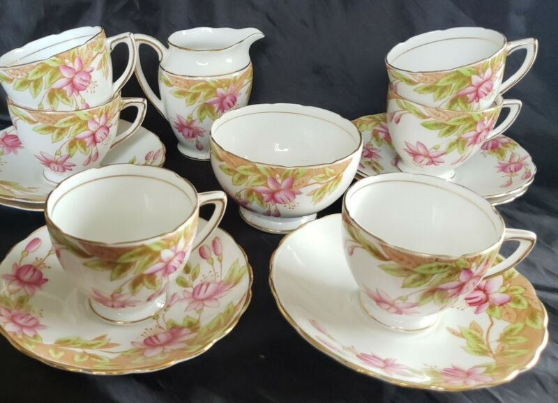 Rosina Bone China Demitasse14 pc.Set Cup & Saucer Pink Fuchsia Flowers England