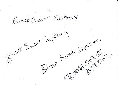 Richard Ashcroft The Verve Bittersweet Symphony Original Handwritten Signed COA