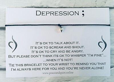 Depression Wish Bracelet, Anxiety Gift, Exam, Stress, Depression, Charm, #WB
