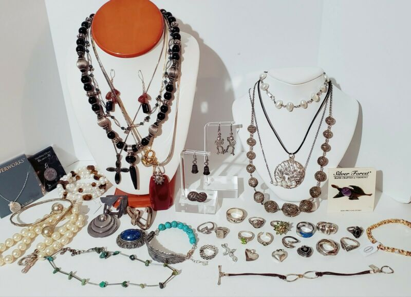 Sterling Silver 925 Jewelry Lot Necklaces, Bracelet, Earrings, Rings, 457 grams.