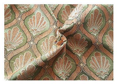Tessuto Tappezzeria Velluto Coste Cinigliato Medaglione Arancione Verde 50x280cm